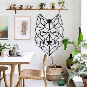 Décoration murale métal loup